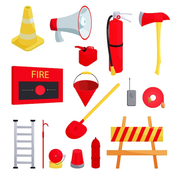 Firefighter icons set, cartoon style Premium Vector