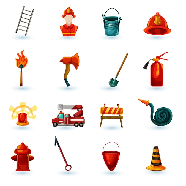 Firefighter icons set Free Vector