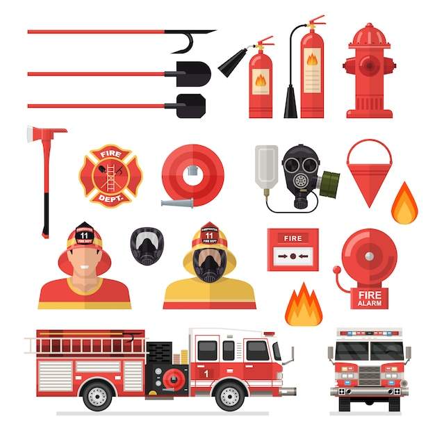 Firefighter isolated colored icon set Free Vector