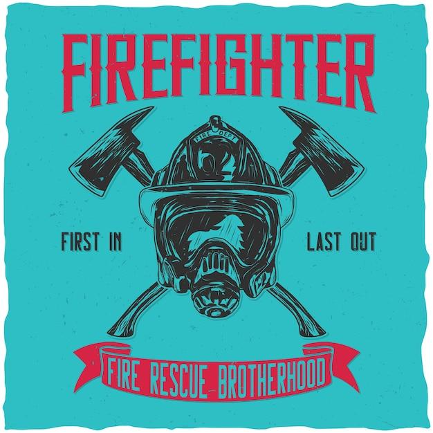 Дизайн этикетки пожарного с иллюстрацией шлема со скрещенными топорами Бесплатные векторы