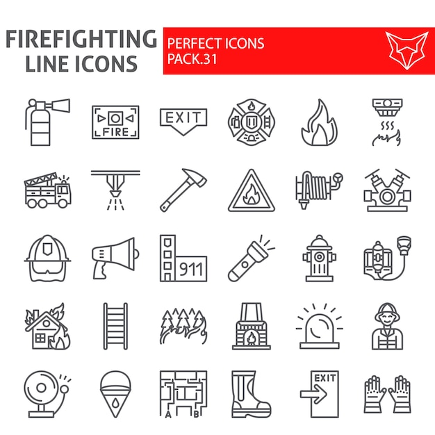 Firefighter line icon set, fireman collection Premium Vector