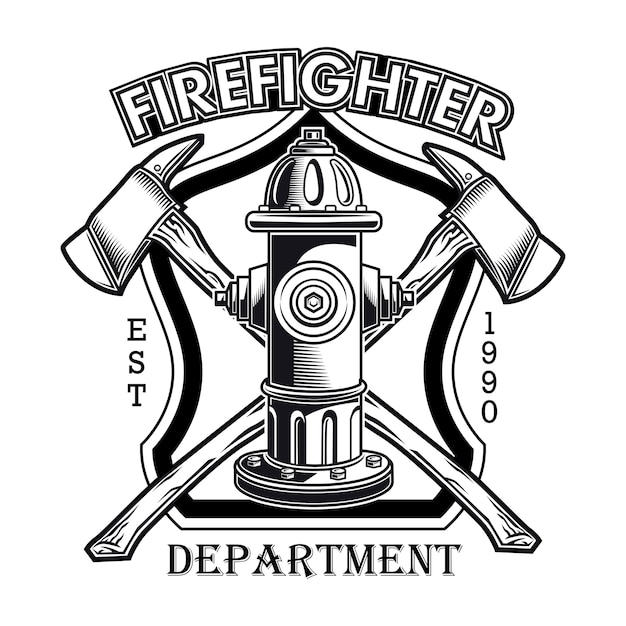 Firefighter logo with hydrant vector illustration. crossed axes and fire dept text Free Vector