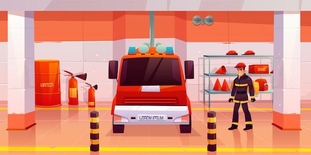 消防士の男がガレージで消防車の近くに立つ 無料ベクター