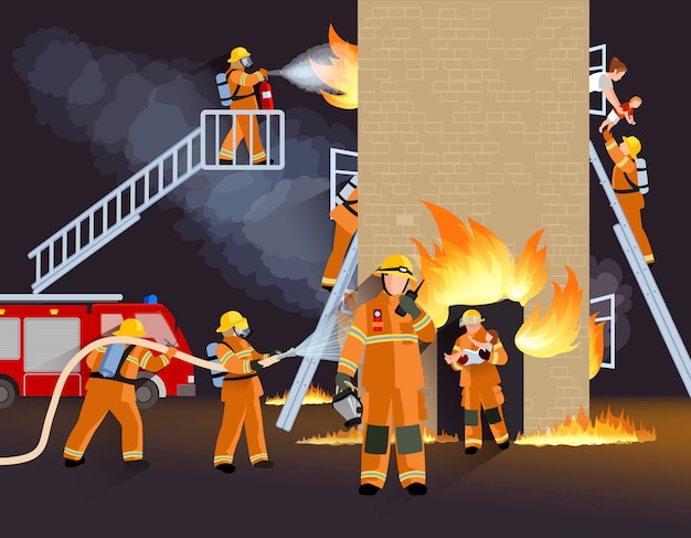 Firefighter people design concept Free Vector