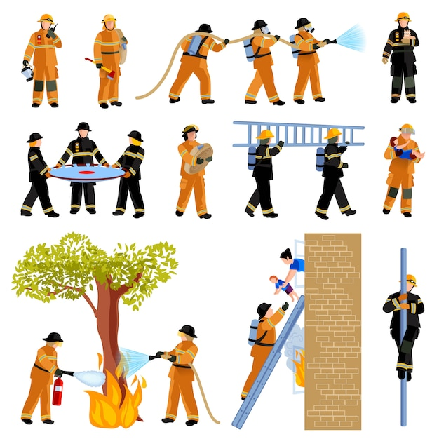 Firefighter people extinguishing fire Free Vector