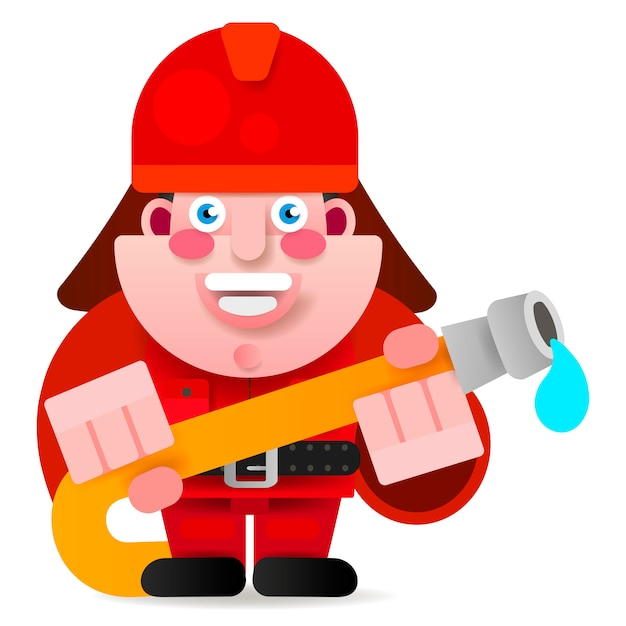 Firefighter ready to get started vector illustration Premium Vector