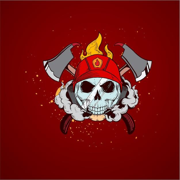 Firefighter skull profession Premium Vector