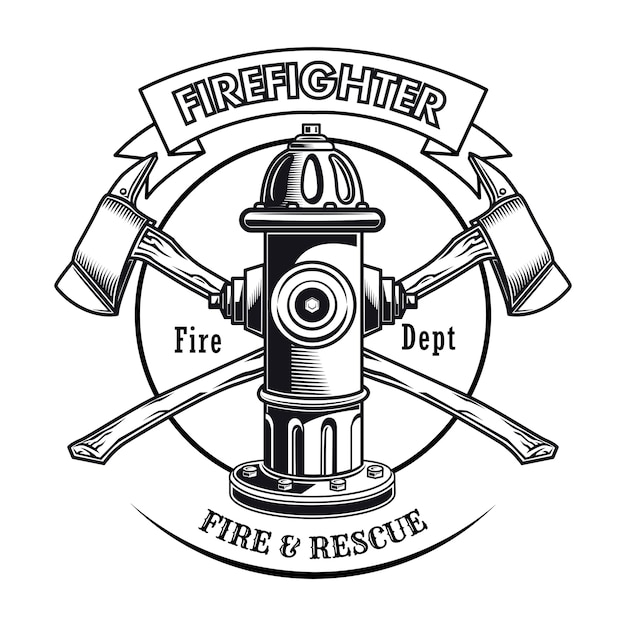 Firefighter stamp with hydrant vector illustration. crossed axes and fire dept text Free Vector