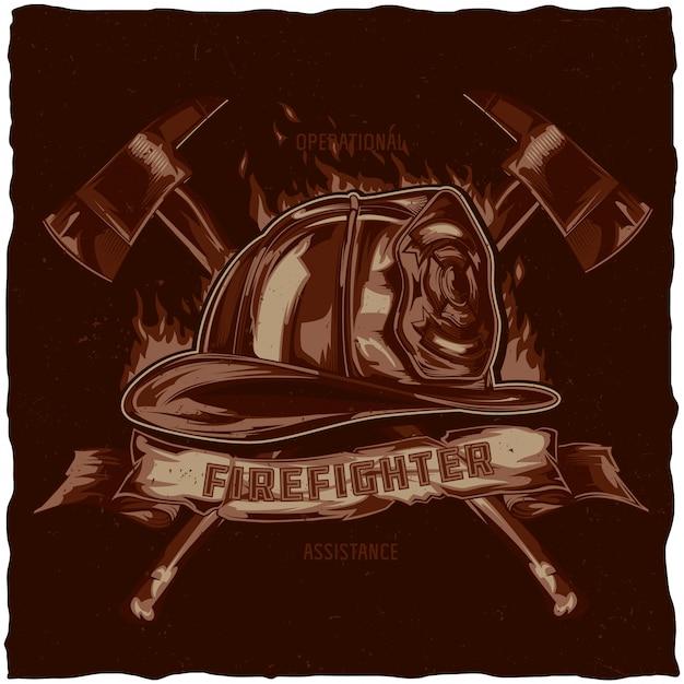 Дизайн этикетки футболку пожарного с иллюстрацией шлема со скрещенными топорами. рисованной иллюстрации. Бесплатные векторы