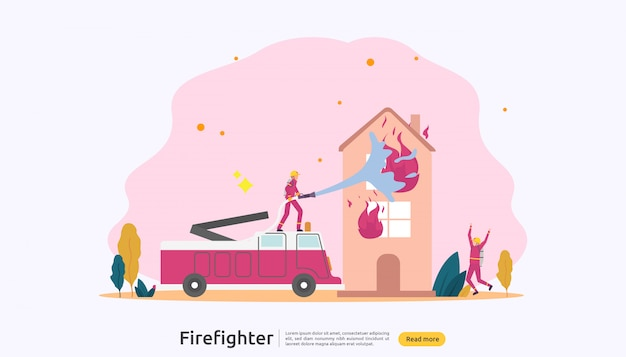 Firefighter in uniform using water spray from hose for fire fighting burning house Premium Vector
