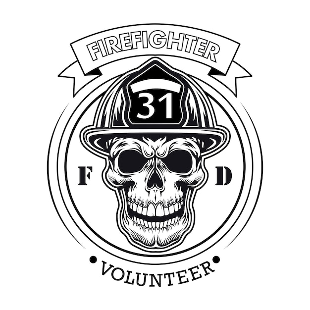 Firefighter volunteer emblem with skull vector illustration. head of character in helmet with number and text sample Free Vector