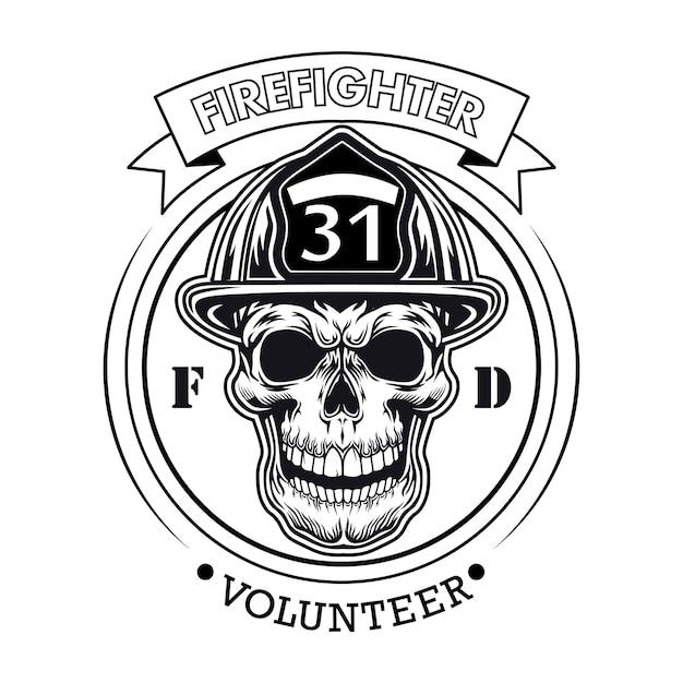 頭蓋骨のベクトル図と消防士のボランティアのエンブレム。番号とテキストのサンプルとヘルメットのキャラクターの頭 無料ベクター