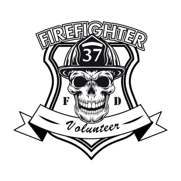 Firefighter volunteer logo with skull vector illustration. head of character in helmet with number and text sample Free Vector