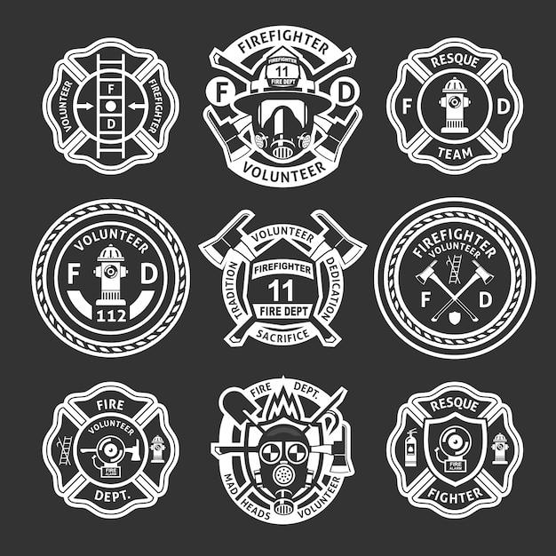 消防士ホワイトラベルセット 無料ベクター