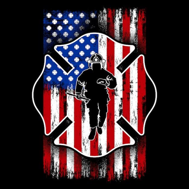 アメリカの国旗を持つ消防士、米国の消防士、シールド Premiumベクター