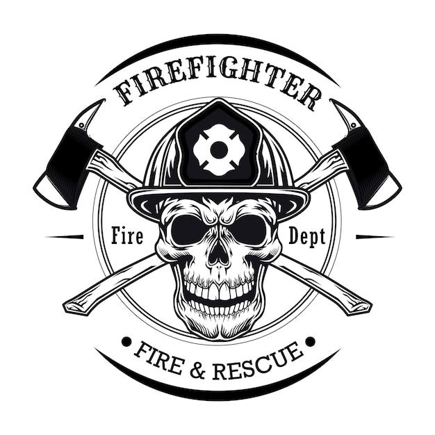 頭蓋骨のベクトル図と消防士。交差軸を持つヘルメットのキャラクターの頭 無料ベクター