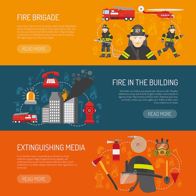 Firefighters brigade flat banners webpage design Free Vector