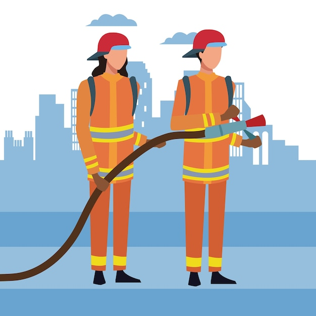 Firefighters at city Premium Vector