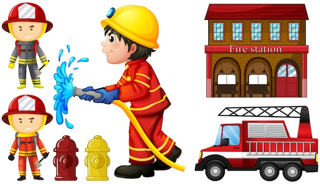 Firefighters and fire station Premium Vector