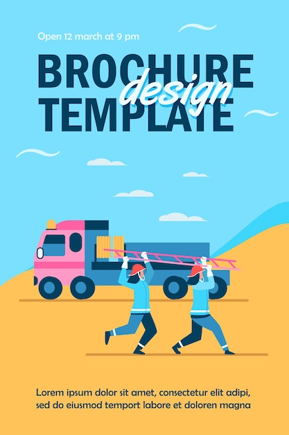 Firefighters rushing to rescue flyer template Free Vector