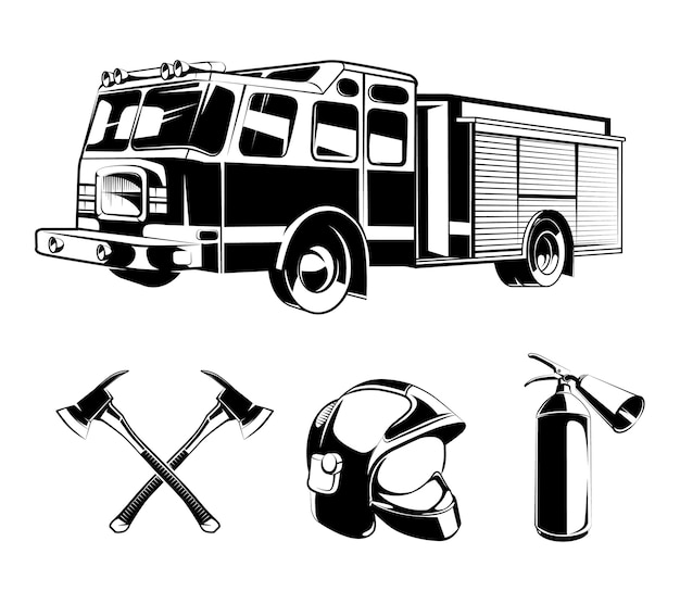 Firefighters vector elements for labels or logos. helmet and axe, protection and rescue illustration Premium Vector