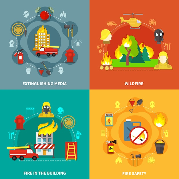 Firefighting 2x2 concept Free Vector