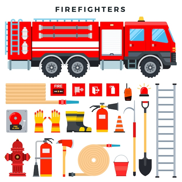Firefighting equipment and gear, set. fire truck, fire extinguisher, hydrant, hose, ladder, radio, fire signs, etc Premium Vector