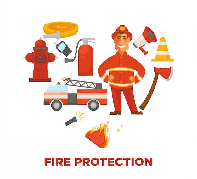 Firefighting and fire protection poster of extinguishing equipment tools. Premium Vector
