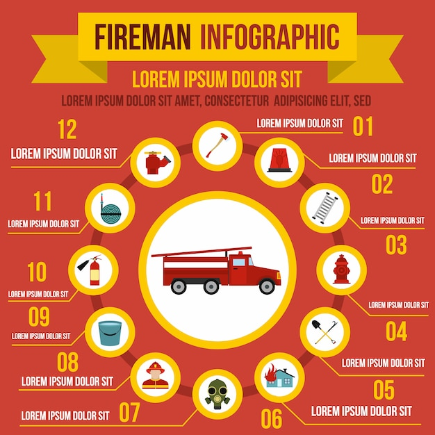 Firefighting infographic elements in flat style for any design Premium Vector