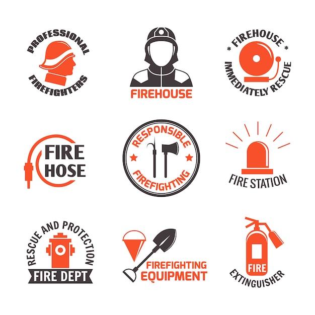 Firefighting label set Premium Vector