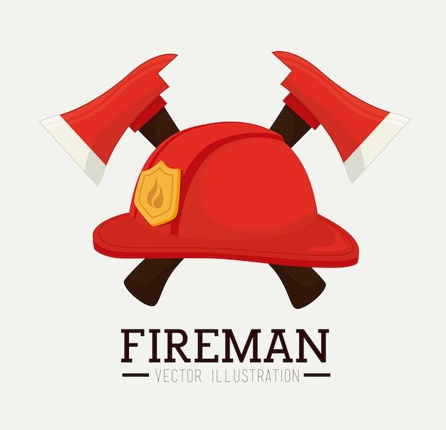 Firefigther design over white background vector illustration Premium Vector