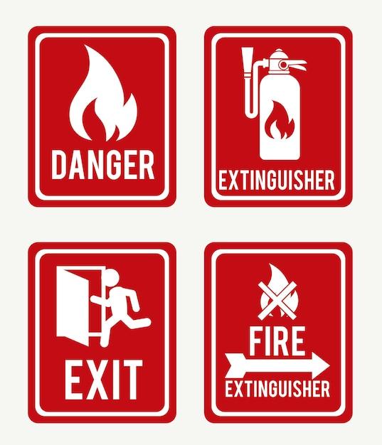Firefigther дизайн на белом фоне векторные иллюстрации Premium векторы