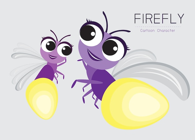 Firefly cartoon character design cute style concept Premium Vector