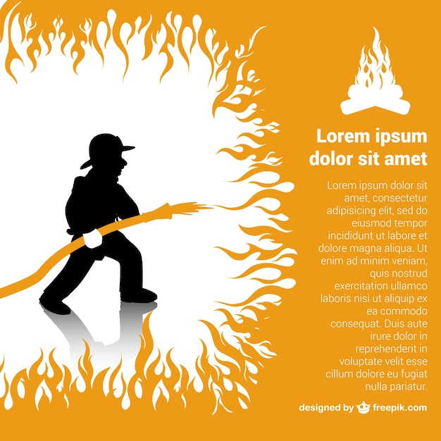 Fireman extinguishing a fire Free Vector