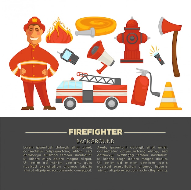 Fireman and fire secure protection poster Premium Vector