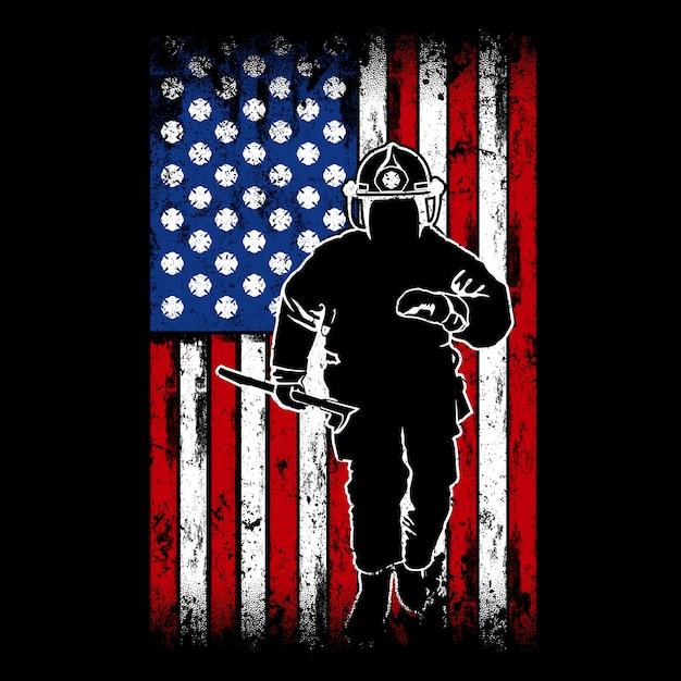 消防士の旗、米国の旗を背景に、消防士のロゴ Premiumベクター