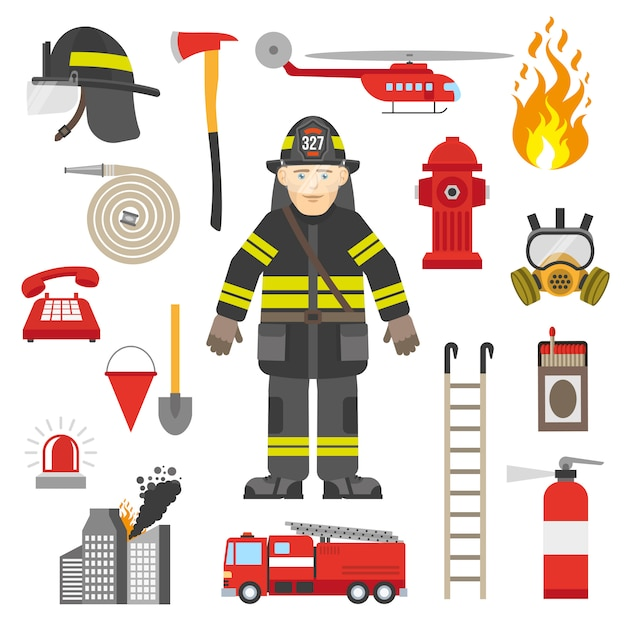 Fireman professional equipment flat icons collection Free Vector