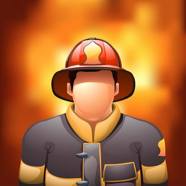 消防士と火 Premiumベクター