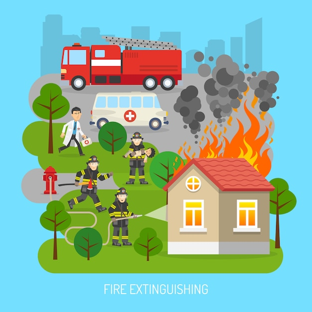 Firemen at work concept flat poster Free Vector