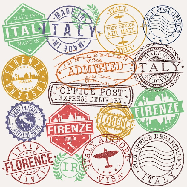 Firenze italy set of travel and business stamp designs Premium Vector