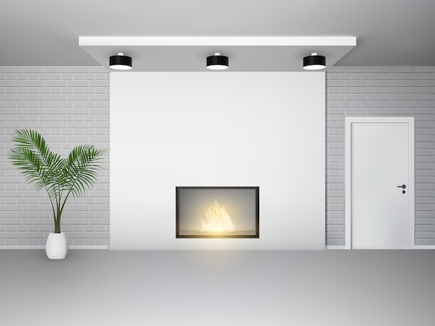 Fireplace interior with palm tree white door and brick wall Free Vector