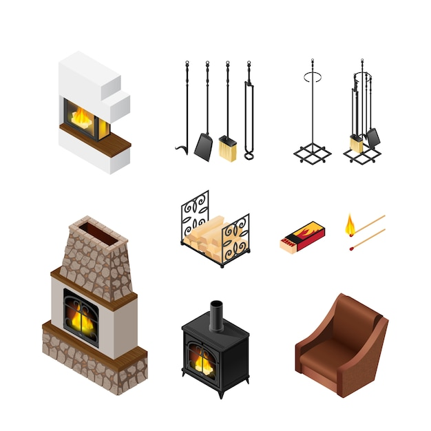 Fireplace isometric elements set Free Vector
