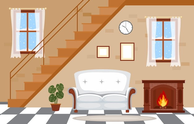 Fireplace living room family house interior furniture vector illustration Premium Vector