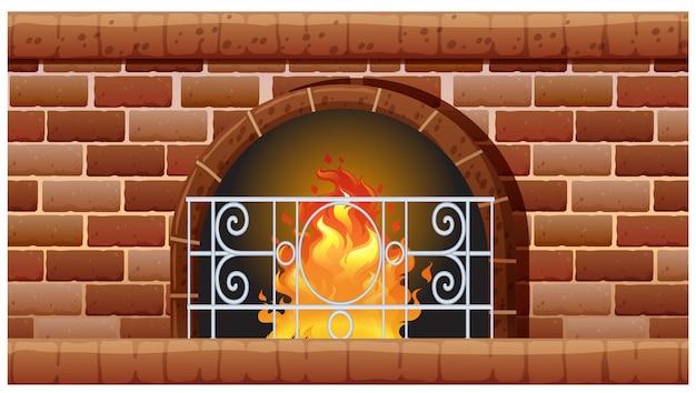 Fireplace made of bricks Free Vector