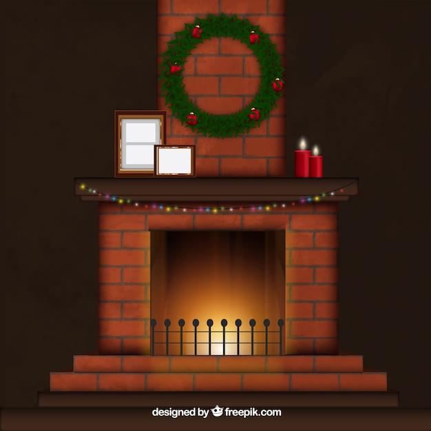 クリスマスデコレーションと暖炉 無料ベクター