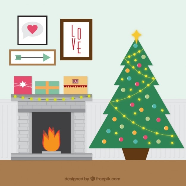 Christmas Tree Illustration.Fireplace With Christmas Tree Illustration Vector Free