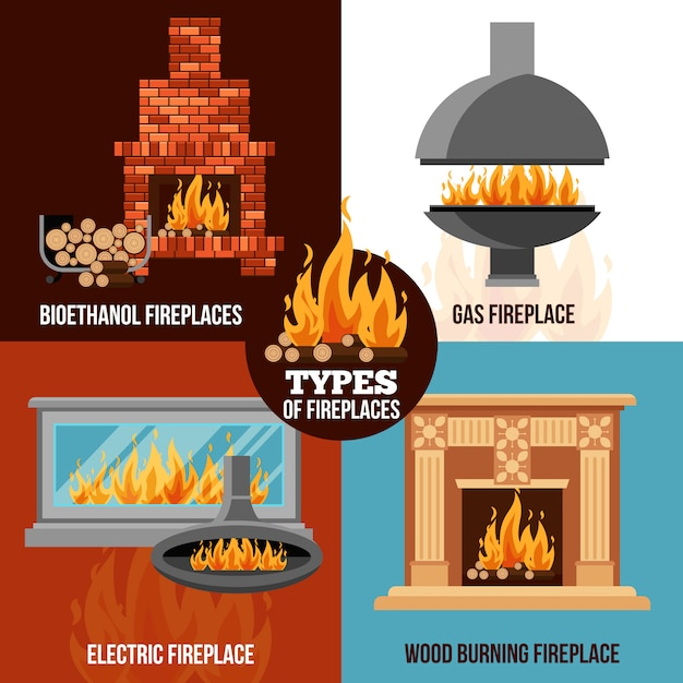 Fireplaces design concept Free Vector