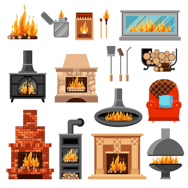 Fireplaces icons set Free Vector