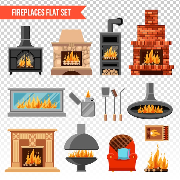 Fireplaces transparent set Free Vector