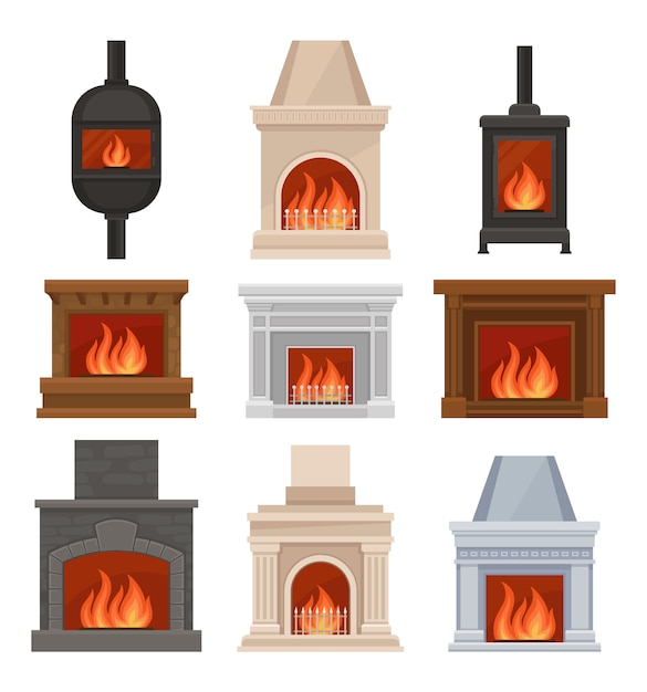 Fireplaces with fire set, stone and cast iron mantels  illustrations on a white background Premium Vector